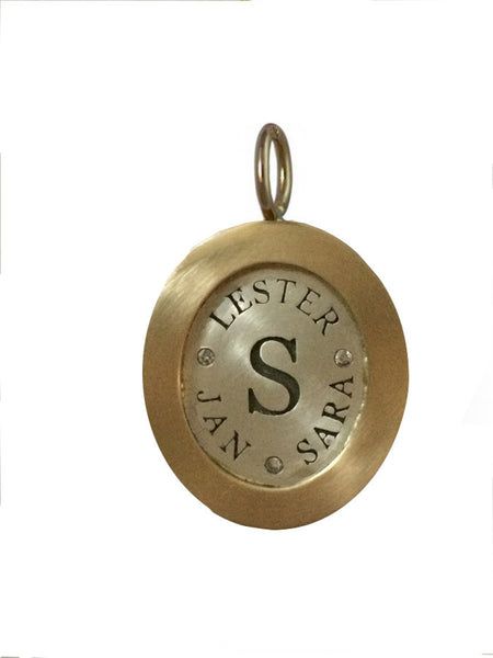 Wide Rimmed Engraved Oval Charm (lg)