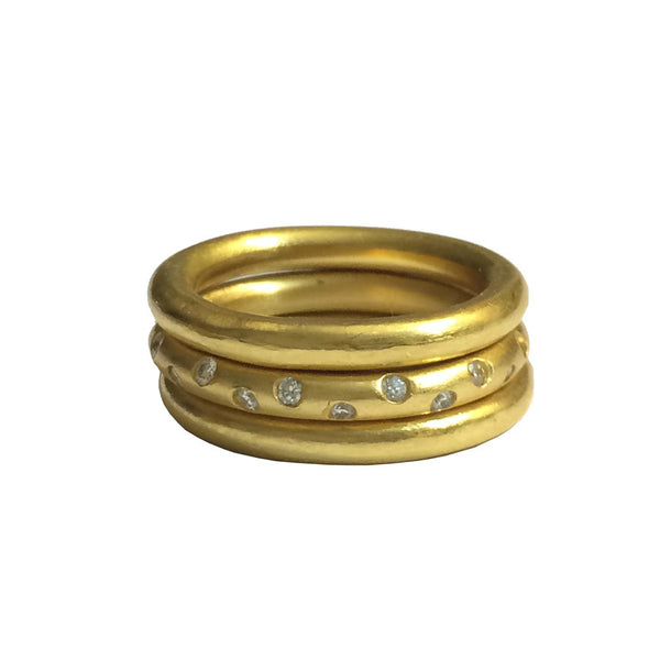 22k Stacking Rings - Wedding Bands - Etoile Style