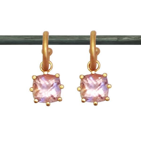 Pink Amethyst Cushion Cut Dangles for Hoops 22k (sm)