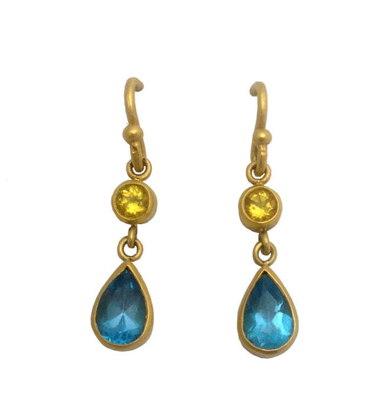 Simone Double Dangles - Yellow Beryl & London Blue Topaz - 22k