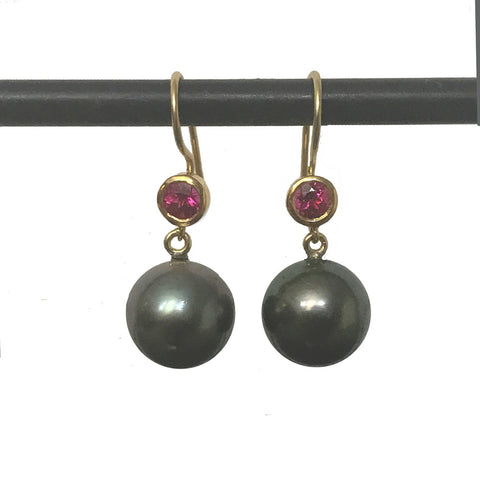 Tahitian Pearls with Rubellite Tops - 22k