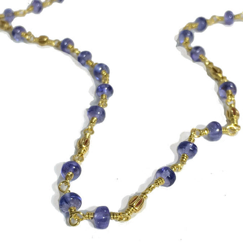 Tanzanite 22k Wire Wrapped Necklace