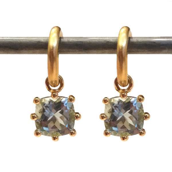 Aquamarine Cushion Cut Dangles - 22k - (small)