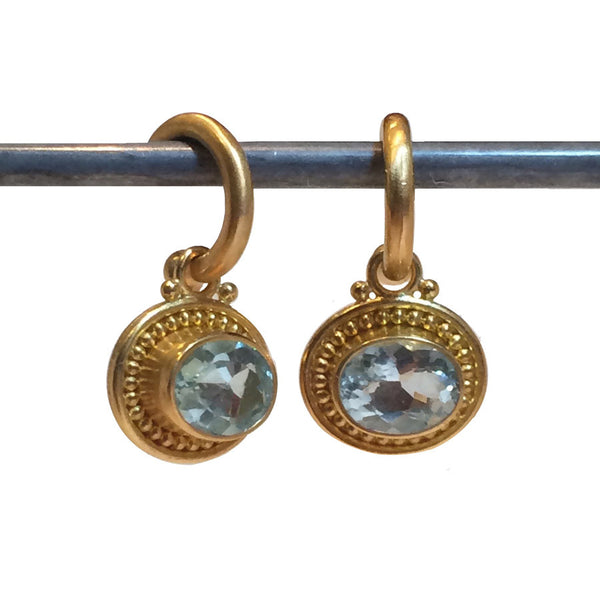 Aquamarine Horizontal Deborah Lee Dangles for Hoops - 22k