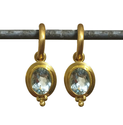 Aquamarine Elizabeth Drops for Hoops - 22k