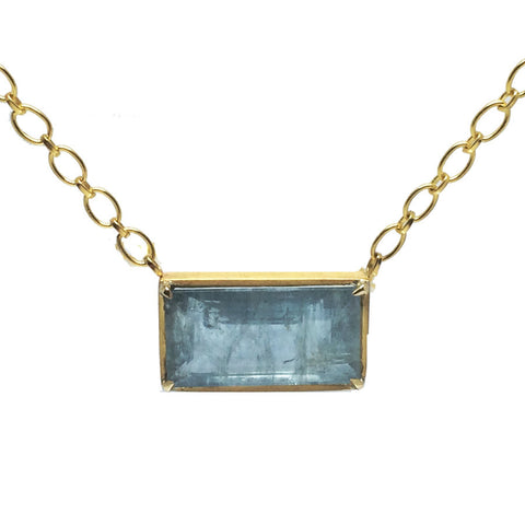 22k Aquamarine Emerald-Cut Necklace