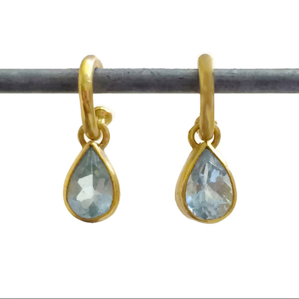 Aquamarine Teardrop Dangles for Hoops - 22k (lg)