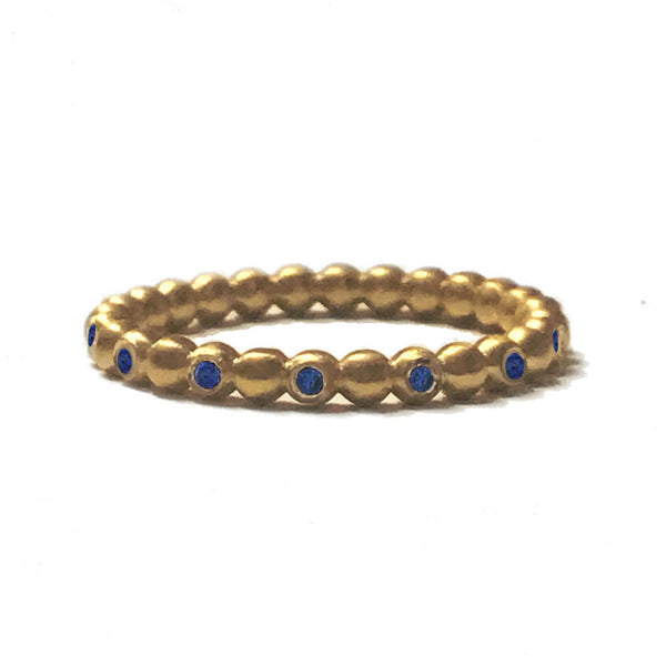 Full Round Beaded Ball Ring with Sapphires - 18k