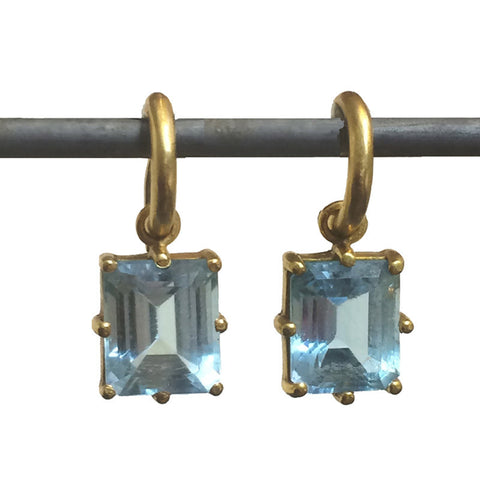 Blue Topaz Emerald Cut Prong-Set Drops for Hoops
