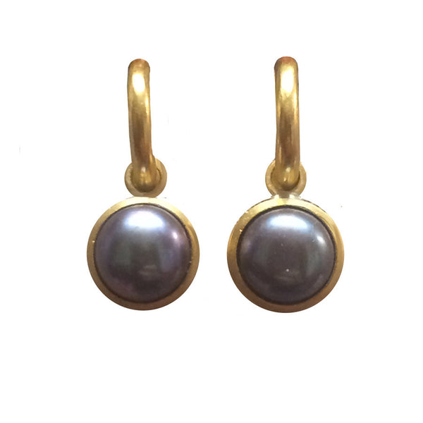 Tahitian Pearl Dangles Set in 22k