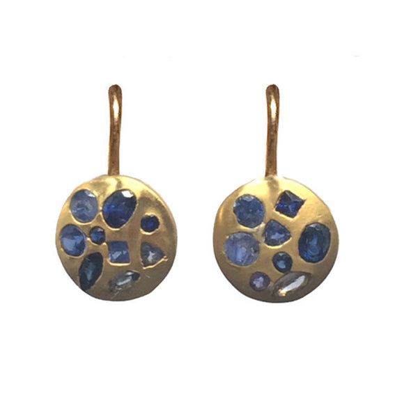 Blue Sapphire Mosaic Earrings - 22k
