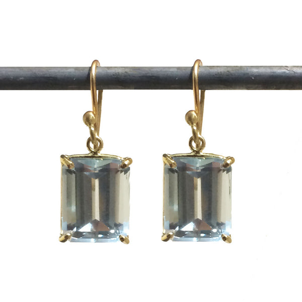 Blue Topaz Emerald-Cut Carolyn Earrings