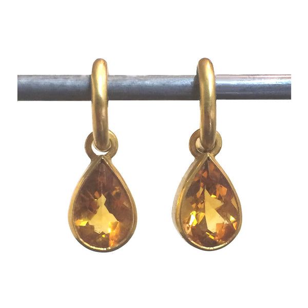 Citrine Teardrop Dangles for Hoops - 22k (md)
