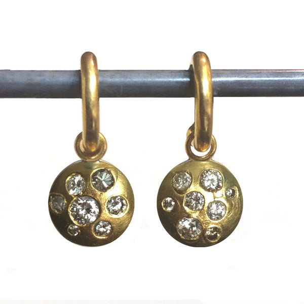 Diamond Mosaic Dangles for Hoops - 22k