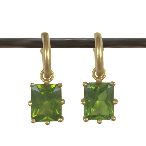 Emerald Cut Peridot Dangles for Hoops - 22k