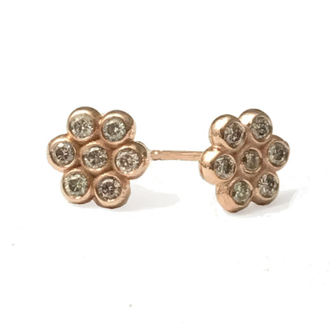 18k Rose Gold Champagne Diamond Flower Studs