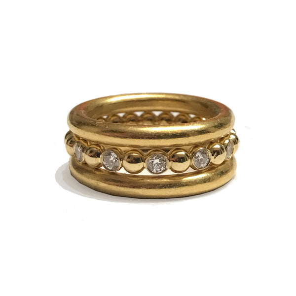 18k Three Ring Stack with Beaded Diamond Band
