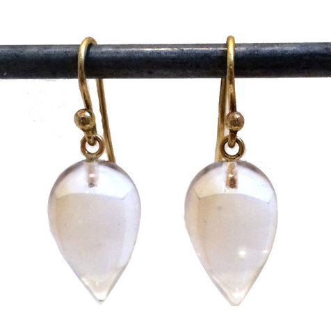 Rock Crystal Acorn-Shaped Earrings with 18k French Wires