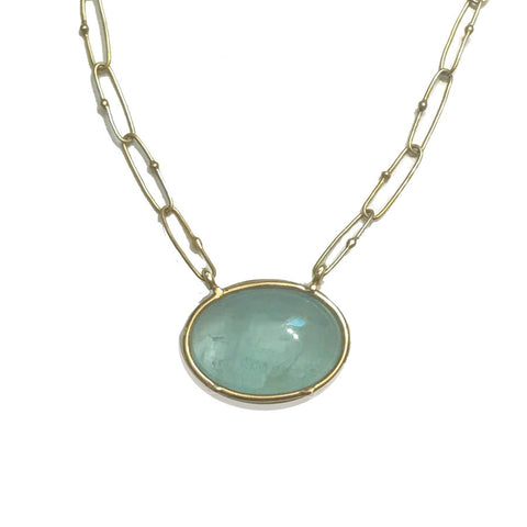 Aquamarine Cabochon Handcrafted Necklace - Paperclip Chain - 18k