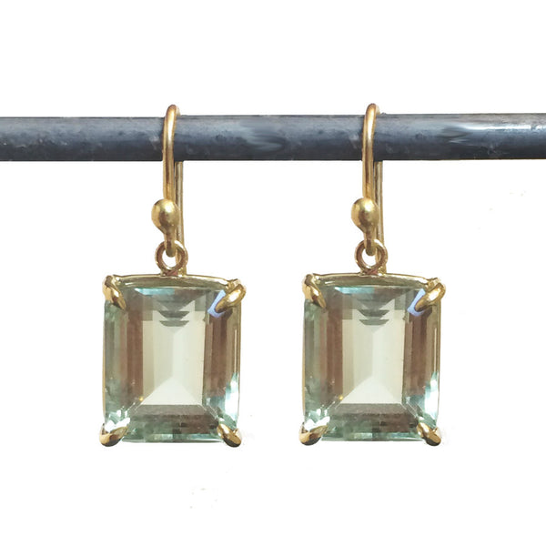 Green Amethyst Emerald Cut Carolyn Earrings - 18k