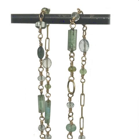 18k Aquamarine, Blue and Green Tourmaline Kaleidoscope Necklace