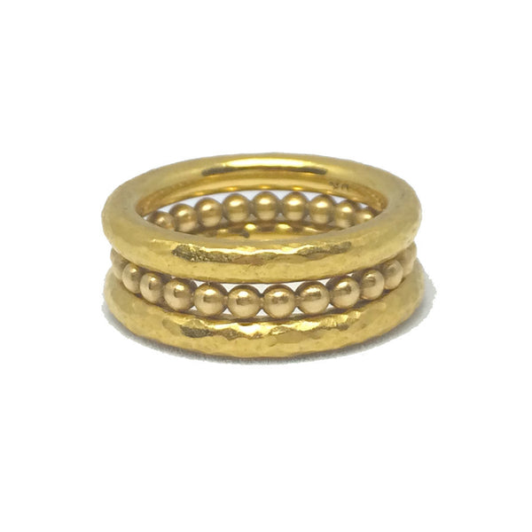 22k Stack Rings - Two Hammered ACL Bands & One Full Beaded Band