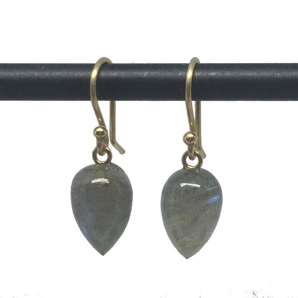 Labradorite Acorn Earrings - Small - 18k