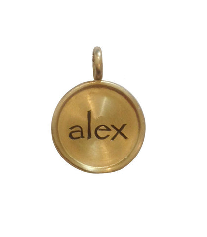 Round Rimmed 14k Engraved Charm