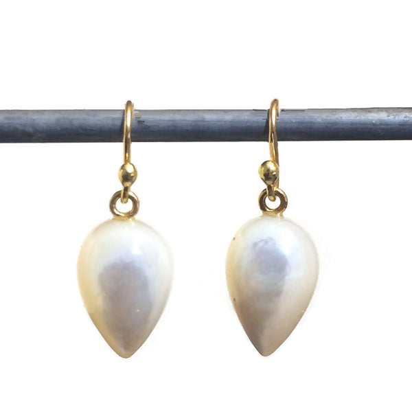 Mother of Pearl Acorn Earrings - 18k