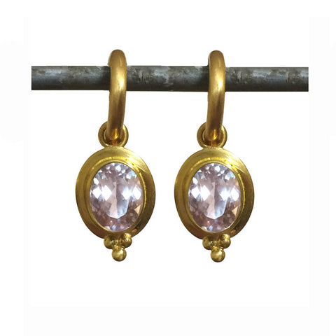 Morganite Elizabeth Drops for Hoops - 22k
