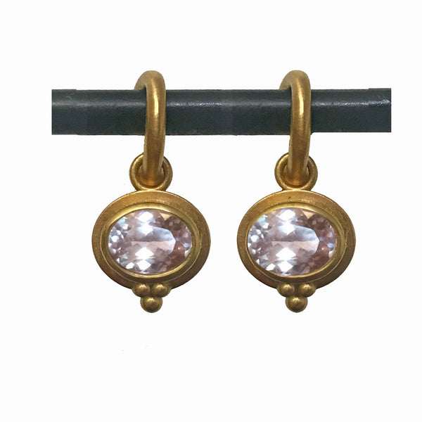Morganite Horizontal Elizabeth Drops for Hoops - 22k
