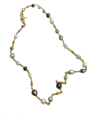 Gray & White Keshi Pearl Necklace - 22k Gold