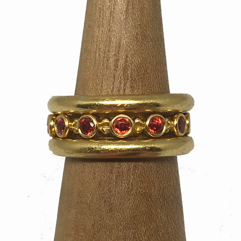 22k Orange Sapphire Lizzie Stacking Rings