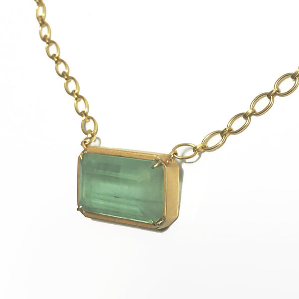 22k Blue/Green Aquamarine Necklace