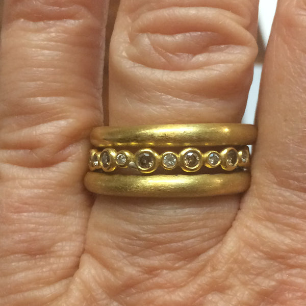22k Stack Bands (The Megan Ring and Two ACL Hammered or Plain Bands)