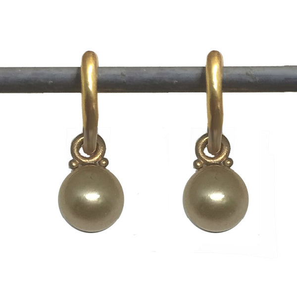 Golden South Sea Pearl Dangle for Hoops 22k