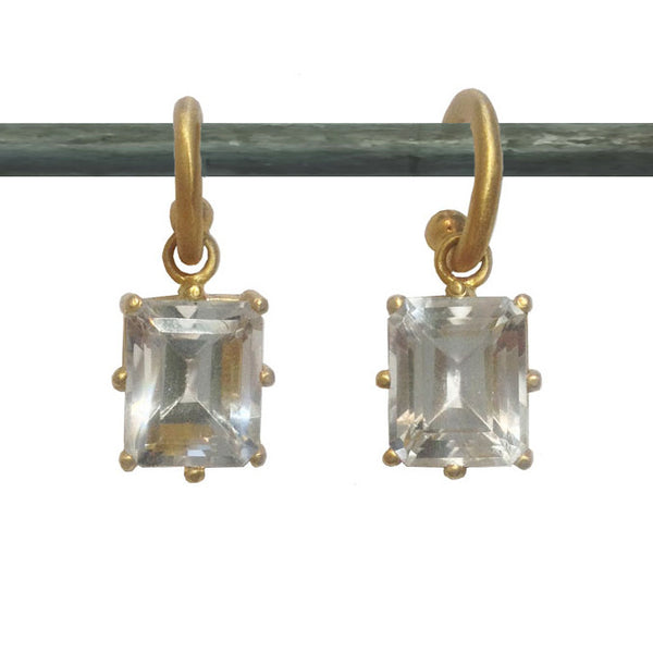 22k White Topaz Emerald Cut Drops for Hoops