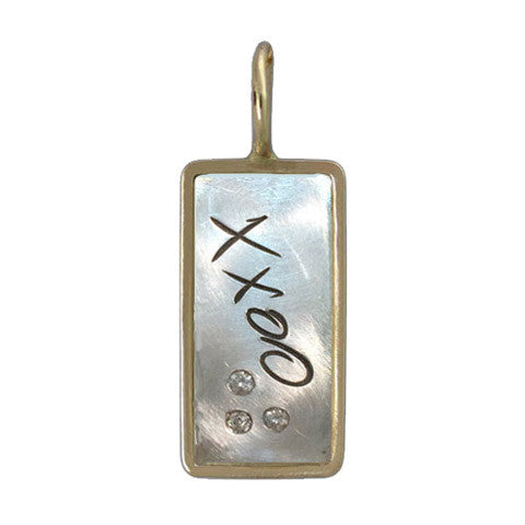 Dog Tag XOXO Charm w/ Diamonds - Sterling & 14k (lg)