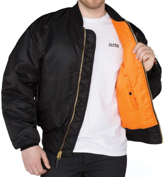 ALPHA MA1 FLYING JACKET - BLACK - INSIDE