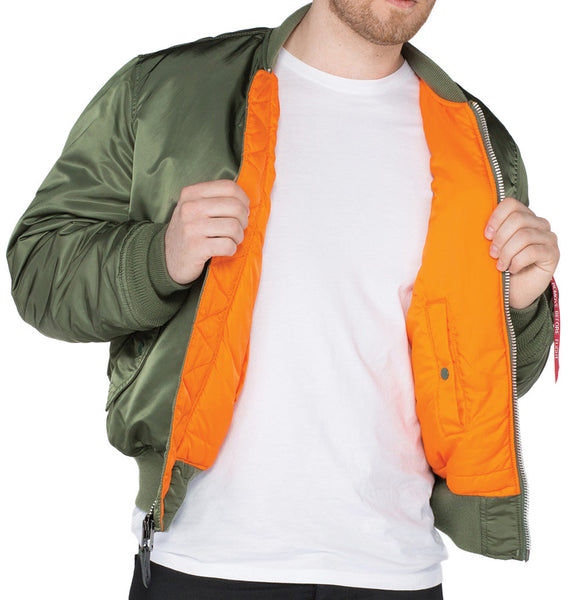 ALPHA MA1 FLYING JACKET - GREEN - INSIDE