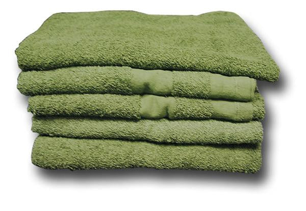ARMY ISSUE GREEN COTTON TOWEL - STACK OF FIVE