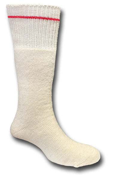 ARCTIC COLD WEATHER SOCKS ECRU - WITH RED STRIPE