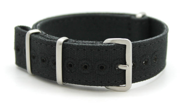 CWC VINTAGE CANVAS NATO STRAP - BLACK