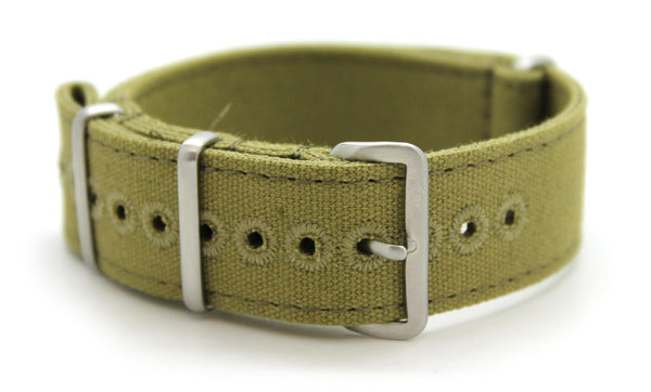 CWC VINTAGE CANVAS NATO STRAP - GREEN