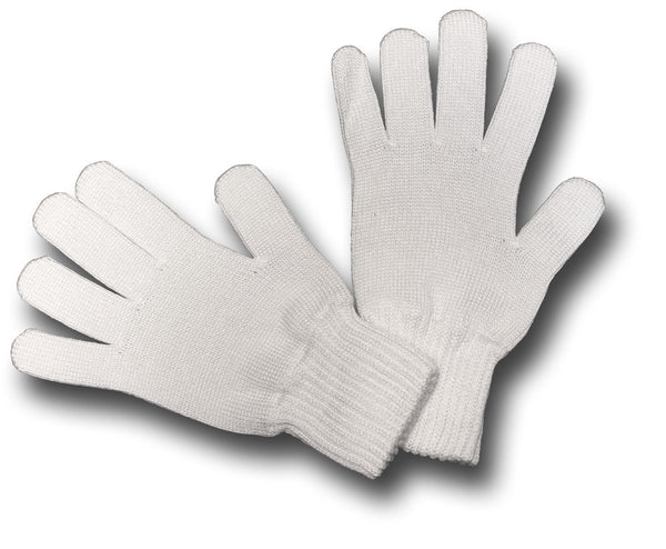 WHITE KNITTED COTTON GLOVES - Silvermans