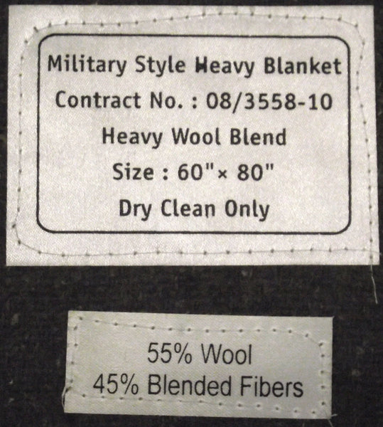 GREY ARMY BLANKET - LABEL