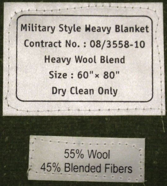 GREEN ARMY BLANKET - LABEL