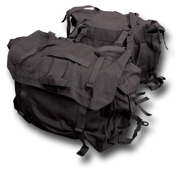 BLACK CANVAS MOTORCYCLE PANNIERS, GRADE 1