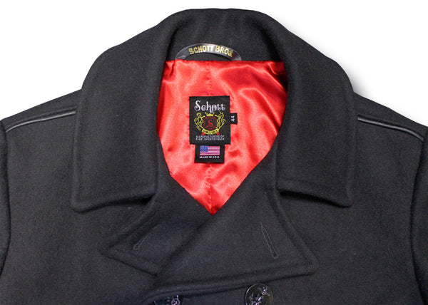 SCHOTT PEA COAT WITH TRIM 740C