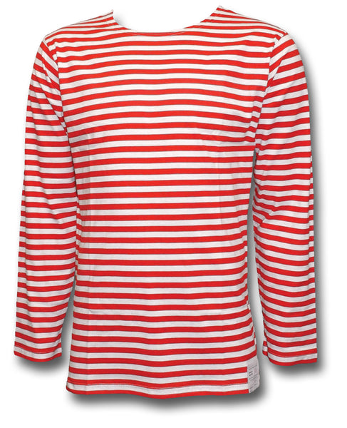RUSSIAN STRIPED LONG SLEEVE SHIRT - RED